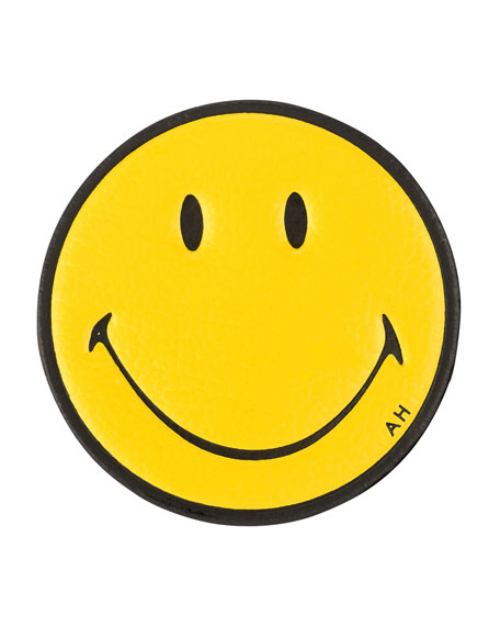 Smiley Face Leather Sticker for Handbag, Mustard
