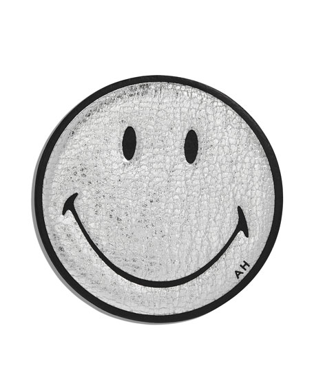 Smiley Leather Sticker for Handbag, Silver