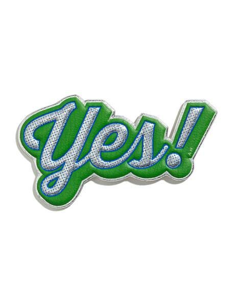 Leather Yes! Sticker for Handbag, Silver