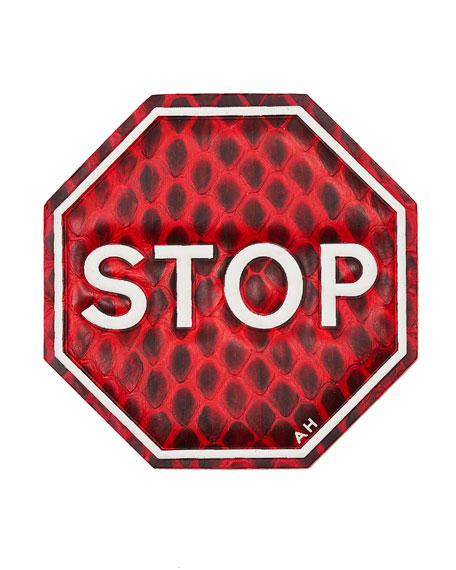 Stop Sign Snake-Print Leather Sticker for Handbag, Bright Red