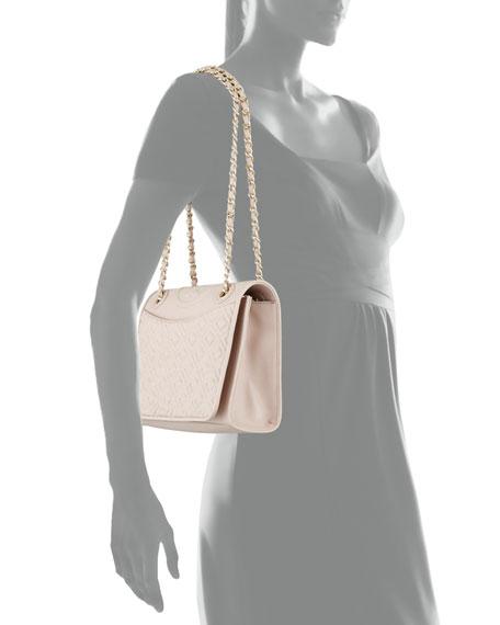 Fleming Medium Quilted Shoulder Bag, Light Oak