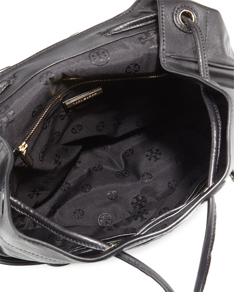 Marion Quilted Leather Backpack, Black