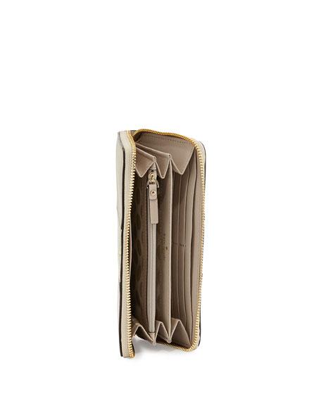 cedar street lacey racing-stripe wallet, clock tower/gold