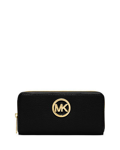 Fulton Zip-Around Continental Wallet, Black