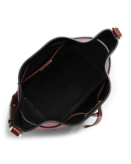 Miranda Medium Drawstring Messenger Bag, Claret