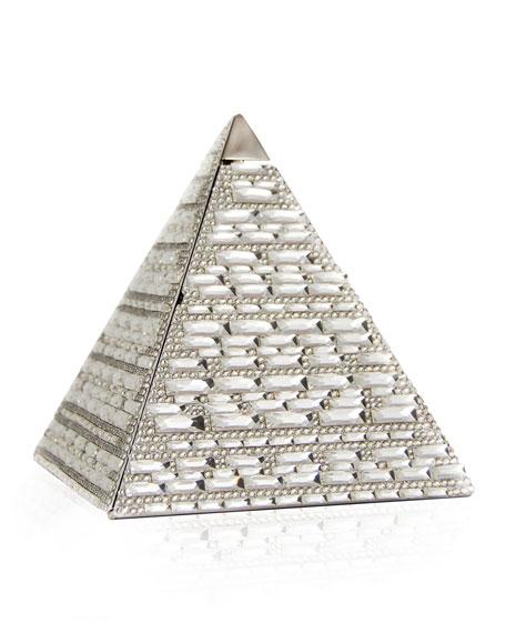 Austrian Crystal Pyramid Clutch Bag, Silver Rhine
