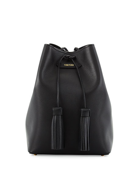 Leather Double-Tassel Medium Bucket Bag, Black