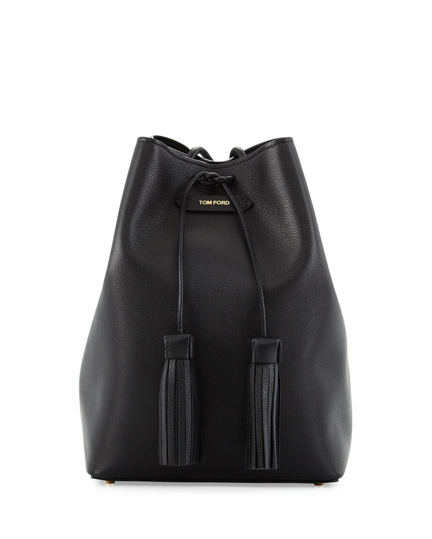 TOM FORD Leather Double-Tassel Medium Bucket Bag, Black   Neiman Marcus ef9539f10c0b