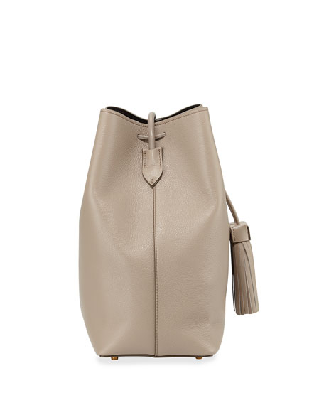 Leather Double-Tassel Medium Bucket Bag, Taupe