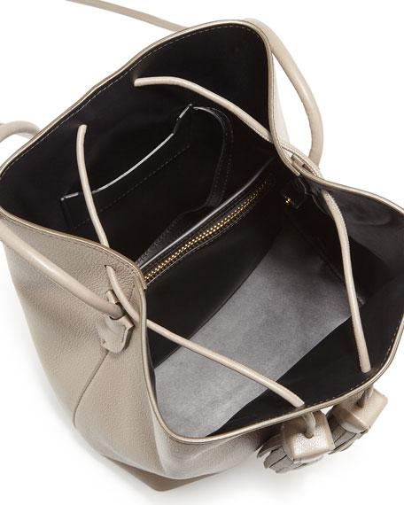 Leather Double-Tassel Medium Bucket Bag, Taupe