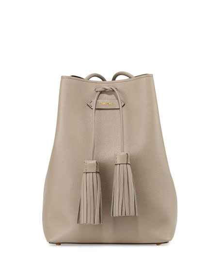 TOM FORDLeather Double-Tassel Medium Bucket Bag, Taupe