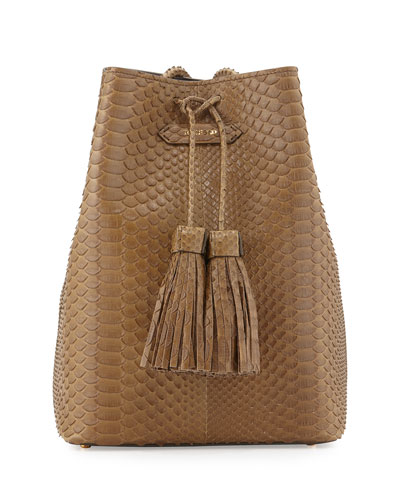 Python Small Double-Tassel Bucket Bag, Olive Green