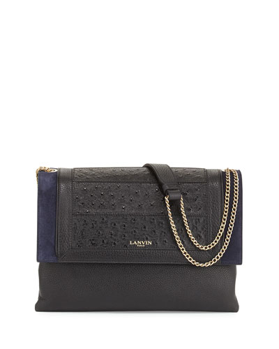 Sugar Medium Ostrich-Stamped Shoulder Bag, Black/Blue