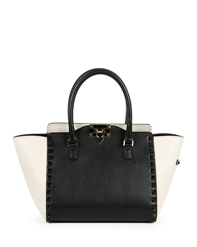 Rockstud Bicolor Shopper Tote Bag, Black/Ivory