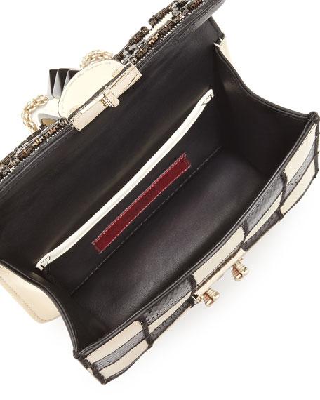Mini Lock Beaded Checker Shoulder Bag, Black/Ivory