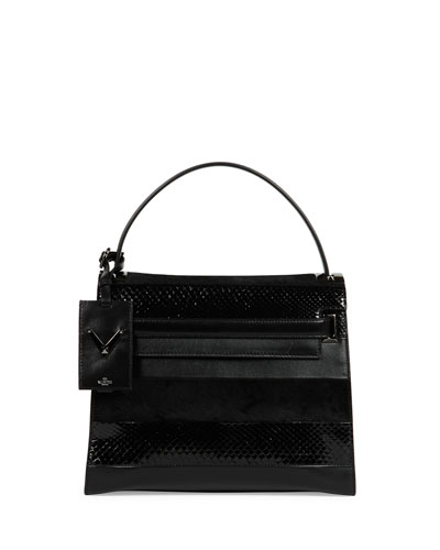 My Rockstud Small Mixed-Media Frame Bag, Black