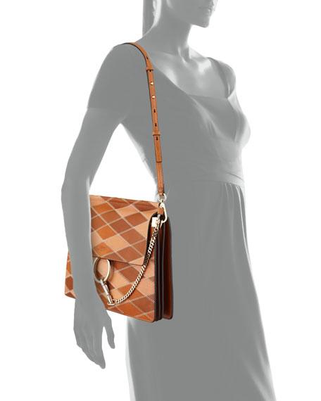Faye Patchwork Leather Shoulder Bag, Caramel