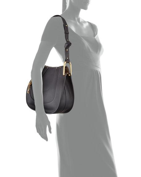 Hayley Small Leather Hobo Bag, Black