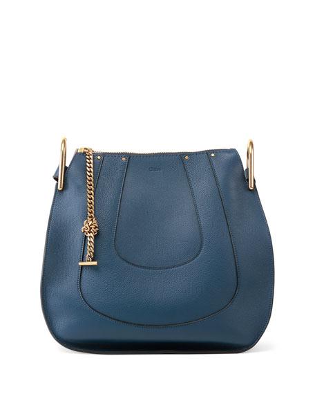 Hayley Small Leather Hobo Bag, Navy