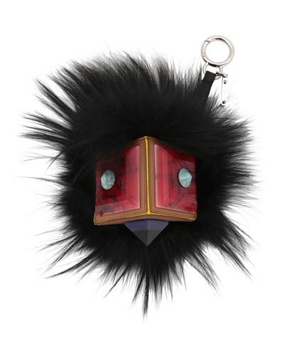 Prism Square Fur Monster Charm, Black