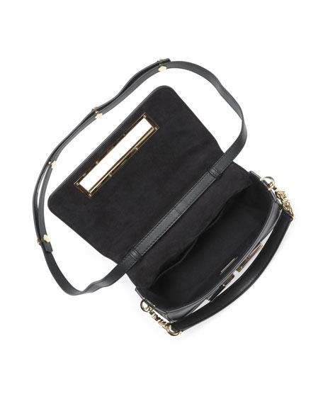Baguette Studded Shoulder Bag, Black