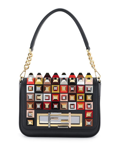 Baguette Studded Shoulder Bag, Black