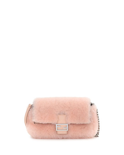 Baguette Micro Shearling Fur Shoulder Bag, Light Pink
