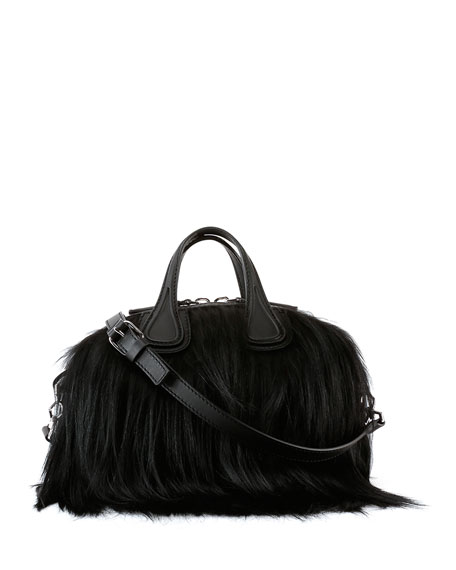 Nightingale Micro Fur Satchel Bag, Black