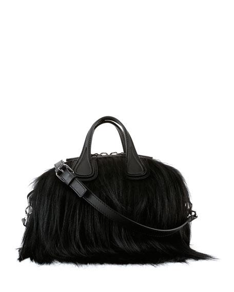 Nightingale Micro Fur Satchel Bag, Black