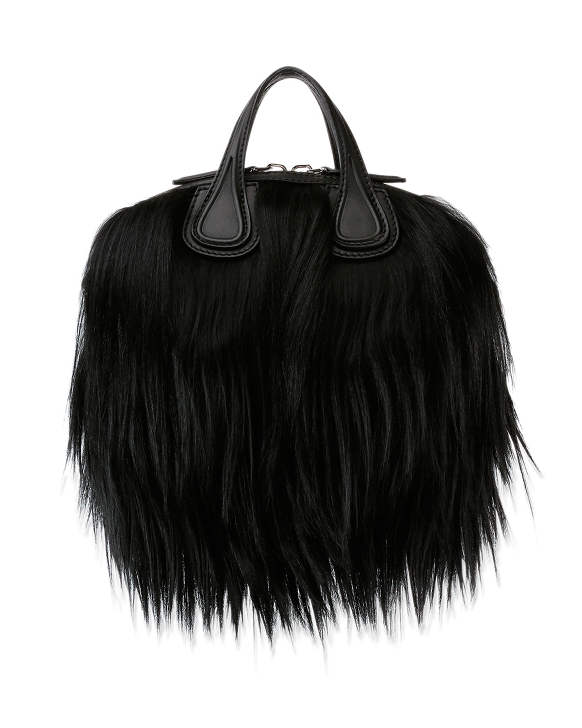 Nightingale Micro Fur Satchel Bag Black