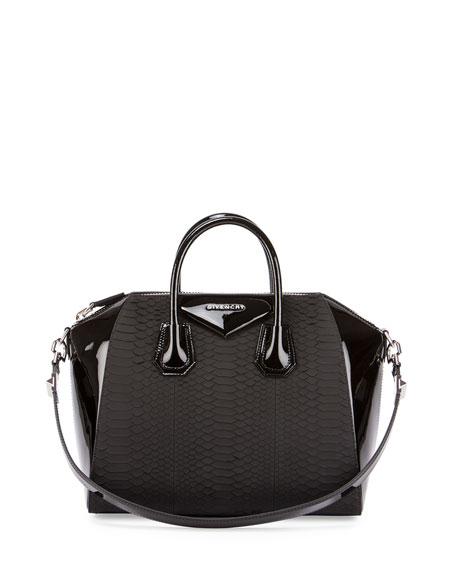 Antigona Python & Patent Satchel Bag, Black
