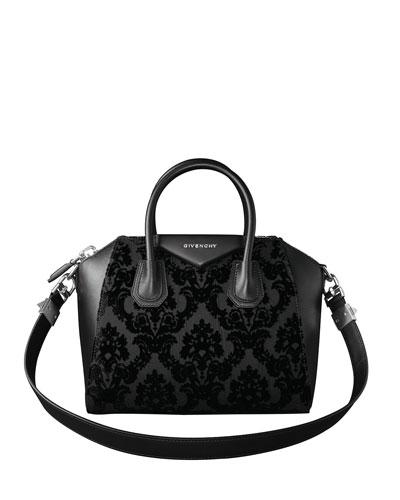 Antigona Devore Velvet Satchel Bag, Black
