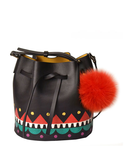 Daliah Fur Pom-Pom Bucket Bag, Black