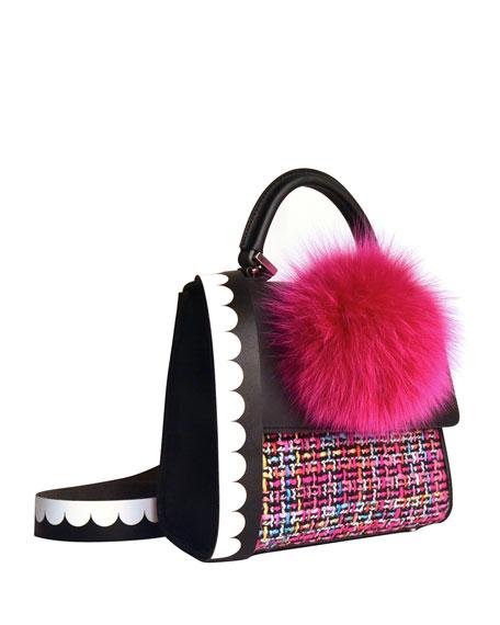 Alex Mini Tweed Fur-Pom Bag, Fuchsia