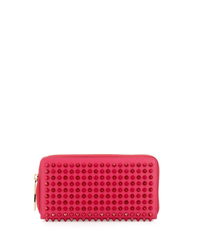 Panettone Spike Stud Continental Wallet, Fuchsia