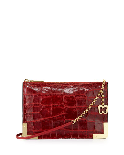Perkins II Croc-Embossed Clutch Bag, Red