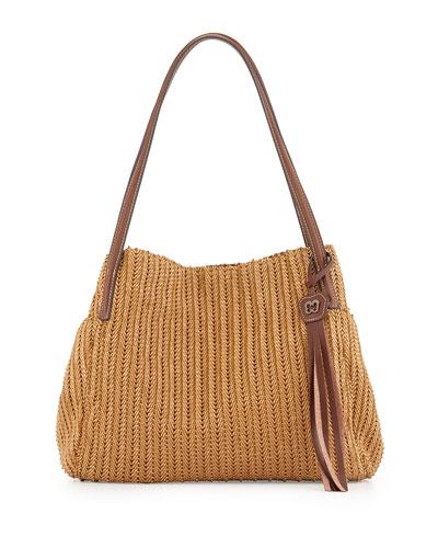 Aura Woven Shoulder Bag, Honey