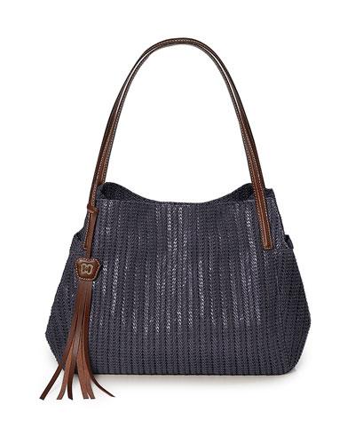 Aura Woven Shoulder Bag, Midnight