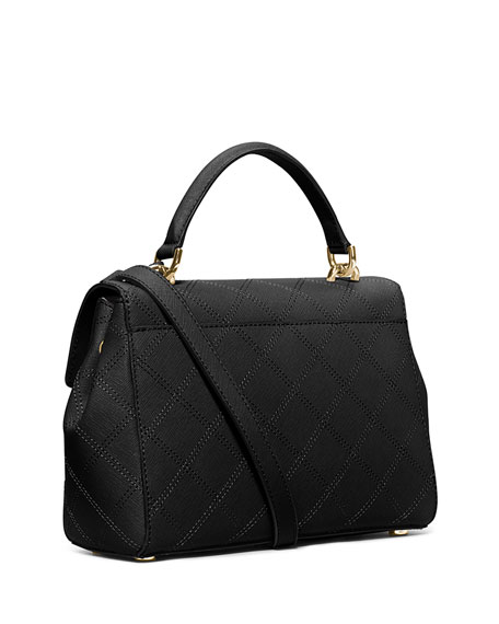 Ava Small Quilted Satchel Bag, Black