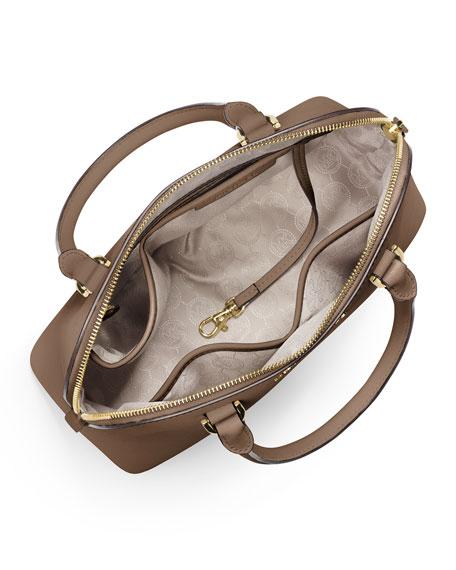 Cindy Medium Dome Satchel Bag, Dark Dune