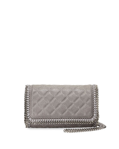 Falabella Studded Crossbody Bag, Light Gray