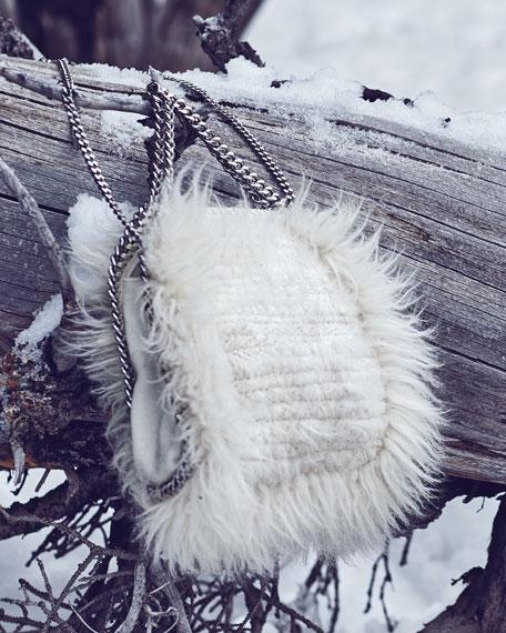 Falabella Mini Faux-Fur Tote Bag, Ivory