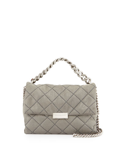 Quilted Small Flap Shoulder Bag, Light Gray