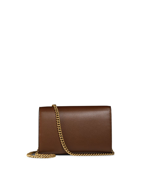 Interlocking GG Marmont Leather Wallet-on-Chain, Brown