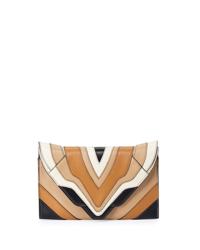 Selina Rainbow Clutch Bag, Black/Cappuccino