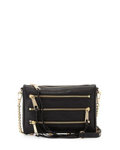 Five-Zip Mini Crossbody Bag, Black