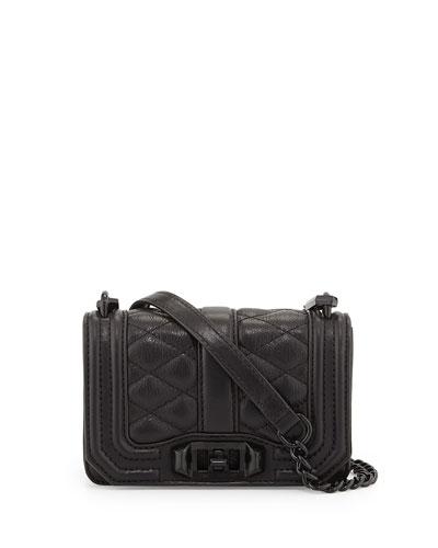 Mini Love Quilted Crossbody Bag, Black