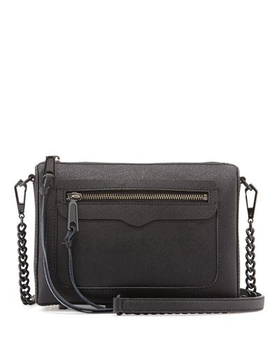 Avery Saffiano Crossbody Bag, Black
