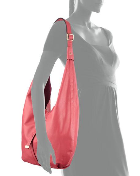 Front-Closure Leather Hobo Bag, Fuchsia