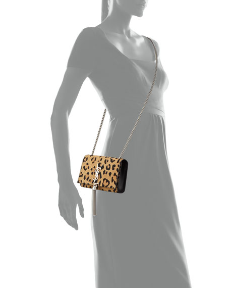 Saint Laurent Monogram Small Leopard-Print Calf Hair Crossbody Bag, Beige/Black